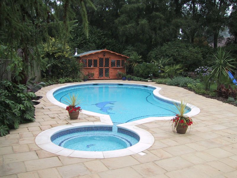 Kidney shaped pool with paddling pool and dolphin motif