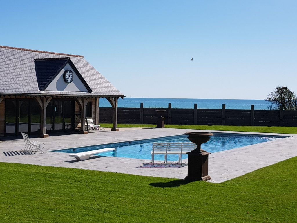 Seaside Pool with Diving Board and Safety Cover